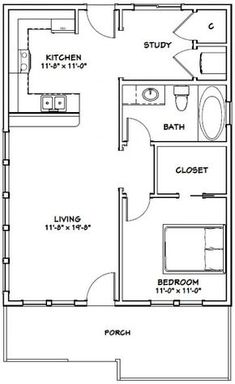 "here's another option. I see the ""study"" area becoming a full laundry area with the hookups along the interior wall. I love the walk in closet House -- 1 Bedroom 1 Bath -- PDF Floor Plan -- 768 sq ft -- Model 1 The Plan, How To Plan, Small House Floor Plans, Cabin Floor Plans, Shed House Plans, Small Room Design, Tiny House Design, One Bedroom House, Barndominium Floor Plans"