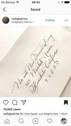 Wedding invitation addressing ideas found on Instagram. Beautiful calligraphy.