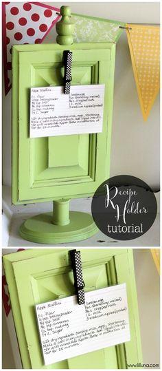 DIY Super cute and easy Recipe Holder tutorial { lilluna.com } This is a great gift idea!!