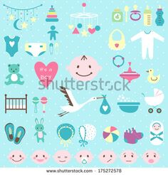 Set of baby shower flat elements isolated on white background. Vector ...