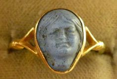 Victorian Hand Carved Blue Volcanic Lava Cameo 15ct Ring