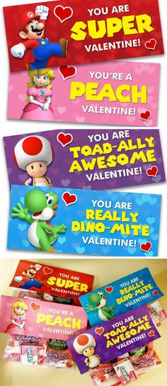 Super Mario Inspired Printable Valentine's Day Cards / Treat Bag Fold-over Cards! #valentinesday #printables #ad