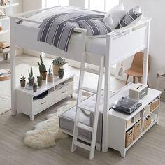 Hampton Convertible Loft Set With Cushy Loveseat Hampton Convertible Loft Bed Bedroom Loft, Teen Bedroom, Bedroom Decor, Bedroom Ideas, Loft Room, Bedroom Furniture, Attic Bedrooms, Bed Rooms, Master Bedroom