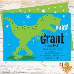 Dinosaur Birthday Party Invitation for kids by TBoneSquid on Etsy