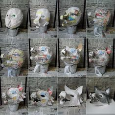Faschingsmasken aus Pappmache basteln – Wolf Maske Make carnival masks from paper mache – wolf mask Cosplay Tutorial, Cosplay Diy, Halloween Cosplay, Halloween Crafts, Halloween Costumes, Making Paper Mache, Paper Mache Mask, Wolf Maske, Mascara Papel Mache