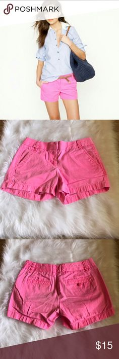 """J.Crew chino shorts J. Crew hot pink Chino shorts in good used condition. Some slight staining on the back of shorts around pocket, shown in pictures. May come out with spot treatment. Size 0, 4"""" inseam. Waist measures 15"""" J. Crew Shorts"""