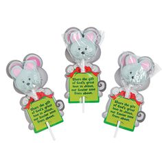 Great hand out for Sunday School! The Mouse & the Miracle Pops with Card - OrientalTrading.com