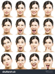 Multiple Portraits Of A Beautiful Asian Women With Different Expressions 写真素材 130216490 : Shutterstock