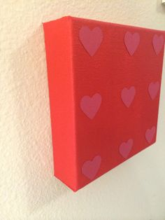 Handmade Pink Hearts on Red Painted Canvas. by LarlenDesigns