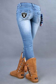 light blue NFL Oakland Raiders Female fans stretch jeans ID:986510798Price : $39