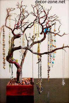 creative jewelry storage ideas, jewelry tree