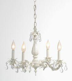 white beach cottage chandelier | Ivory White Cottage Lighting Chandelier, Shabby Chic, Beach Light ...