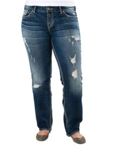 Silver Jeans Plus Size Jeans, Berkley Straight Leg Medium Wash - Plus Size Jeans - Plus Sizes - Macy's...I really love these ..