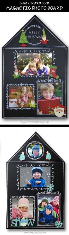 A great holiday display board from Embellish Your Story by Roeda. This board has permanent chalk-like borders with a Christmas theme into which you can mount various items or write your messages. What a fun look! You can also use it for winter photos.