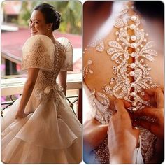 By Veluz --- very nice Filipiniana gown Modern Filipiniana Gown, Filipiniana Wedding Theme, Wedding Gowns, Barong Wedding, Maria Clara Dress Philippines, Filipino Fashion, Philippine Fashion, Filipino Wedding, Bridal Dresses