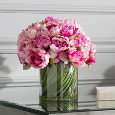 Willa Arlo Interiors Faux Magenta & Pink Peony Floral Arrangement in Glass Vase Peony Arrangement, Peonies Centerpiece, Flower Vases, Floral Arrangements, Tall Centerpiece, Centerpiece Wedding, Cactus Flower, Flower Beds, Peonies And Hydrangeas