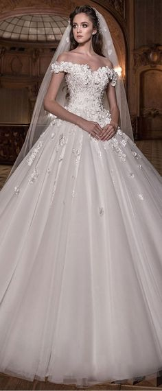 Junoesque Tulle Off-the-shoulder Neckline Ball Gown Wedding Dress With Lace Appliques & 3D Flowers & Beadings #laceweddingdresses