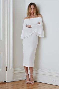 """Maurie & Eve Lucy in the Sky dress Autumn2016collection, """"love and mercy"""" lucy in the sky dressby maurie & eve at maximillia. off the shoulder midi pencil dress..."""