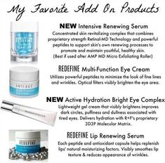 Here are some of the products that got me addicted to Rodan + Fields! The Intensive Renewing Serum will make your skin feel like silk! The REDEFINE Multi-Function Eye Cream will reduce the appearance of crows feet, and make the skin around your eyes feel firmer! The Active HydrationBright Eye Complex will reduce the appearance of dark circles and puffiness around the eyes! And the Renewing Lip Serum will make your lips look and feel hydrated! #acnearoundlips,