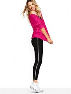 Your favorite legging turns on the sparkle with a sequin stripe down the side. The Sequin-Stripe Legging from Victoria's Secret PINK is a must-have basic to mix, match and layer with all the pieces from our PINK Favorites Collection.