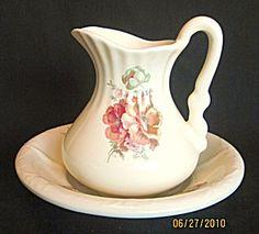 Vintage Athena Rose Bouquet Pitcher & Basin