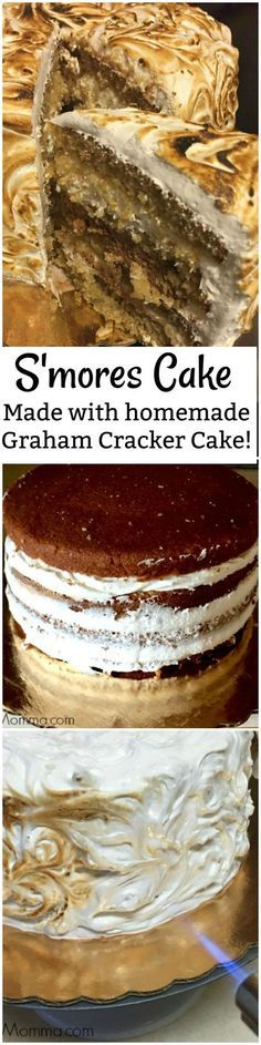 Amazing S'mores cake make with a homemade graham cracker cake, homemade marshmallow fluff and amazing homemade chocolate cake. This S'mores cake will totally get you your s'mores fix and everyone you make it for will love you!
