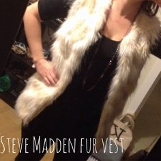 Steve Madden Fur Vest Steve Madden Fur vest- SUPER cute. bought here on posh for 100.00 but unfortunately is too big:( This vest is a small but would fit a medium better. The vest also has pockets and is nwt. It is has a loose fit and is 24 in long. I absolutely love it and hope it finds a good home soon:) Steve Madden Jackets & Coats