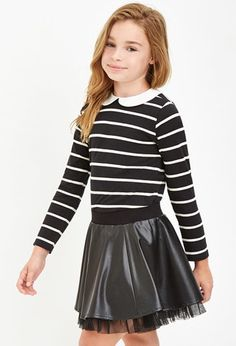 Shop comfortable and stylish Girls' Tops at Forever 21 for your mini fashionista. Find on-trend tees, blouses, and sweatshirts in an array of adorable designs. Cute Girl Outfits, Kids Outfits, Cool Outfits, Tween Fashion, Little Girl Fashion, Forever 21 Kids, Kids Tops, Kid Styles, Doll Clothes
