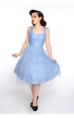 Pinup Girl Clothing- Garden State Dress in Periwinkle by Unique Vintage | Pinup Girl Clothing