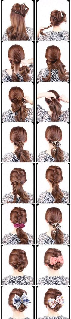 Picture tutorial of cute and easy updo...kind of confusing, i thought, but pretty.