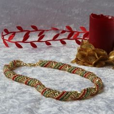 Christmas (Gold, Red and Green) Russian Spiral Necklace £20.00