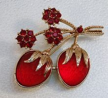 """Sarah Coventry Strawberry Festival Pin  Red Satin Glass - These luscious berries will remind you of spring when the weather turns - from the Ruby Lane shop """"Charmed Life Collectibles """""""
