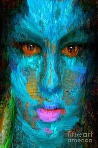 Digital Art - Blue Face by Rafael Salazar