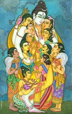 This is a beautiful image! The Lord stretched out his arms of love that everyone might come within the reach of his saving embrace. All of them held so dearly to his chest... so peaceful and with love! So beautiful! :) Om Namah Shivaya!
