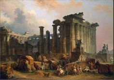 Ruins of a Doric Temple by Hubert Robert (French 1733-1808)