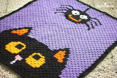 Crochet Halloween Blanket - Repeat Crafter Me C2c Crochet, Crochet Geek, Crochet For Kids, Free Crochet, Crochet Afghans, Pikachu Crochet, Crochet Blankets, Afghan Crochet Patterns, Knitting Patterns Free