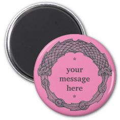 Customizable Magnet OUROBOROS II pink Snake Dragon, Irish Celtic, Round Magnets, Paper Cover, Love Notes, Text Color, Office Gifts, Gifts For Dad, Special Gifts