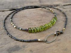 Peridot Necklace, rustic necklace, simple necklace with green peridot, August birthstone necklace. $32.00, via Etsy.