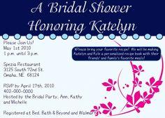 Bridal shower invite back