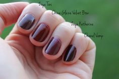 eight shades of ox blood nail polish (4 pictured)