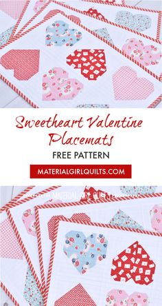 Make your own Valentine's Day placemats with this free pattern from Amanda Castor of Material Girl Quilts! Quilted Placemat Patterns, Quilt Patterns Free, Free Pattern, Placemat Ideas, Easter Placemats, Quilt Placemats, Table Topper Patterns, Table Toppers, Heart Quilt Pattern