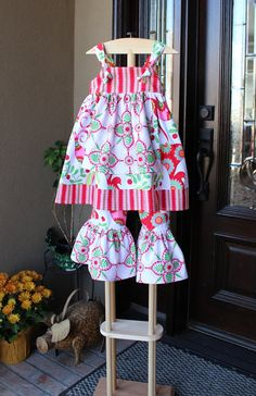 Girls Christmas Knot Apron Dress and Ruffle Pants by jamiesmomma, $40.99