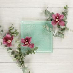 A mint green small plate is a yes! Always! Your guests will rave about the tapas you serve with this designer tapas plate. #floral