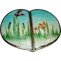 Antique Japanese Ginbari Cloisonne Enamel Iris's Heart Belt Buckle