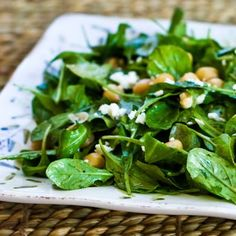 I love this recipe for Arugula Chickpea Salad with Feta and Balsamic-Tahini Vinaigrette; if you don't have tahini you can make the dressing with peanut butter. Yum! [from KalynsKitchen.com] #ArugulaSalad