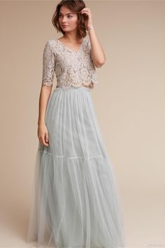Two Pieces Bridesmaid Dresses 2017 Bhldn Under 100 with Half Sleeves & V Neck Lace & Tulle Long Junior Formal Dress Custom Made Cheap Bridesmaid Dresses Robe Demoiselle D'honneur 2 Pieces Bridesmaid Dresses Online with $92.58/Piece on Grace2's Store | DHgate.com