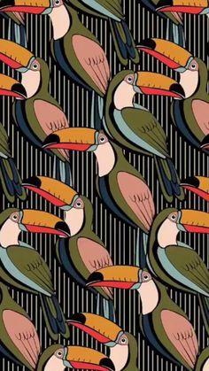 Surface Pattern Design, Pattern Art, Print Patterns, Fabric Wallpaper, Pattern Wallpaper, Bird Illustration, Illustrations, Cute Wallpapers, Wallpaper Backgrounds
