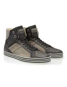 #HOGANREBEL Men's Spring - Summer 2013 #collection: leather High-Top #sneakers R141 with nubuck panels.