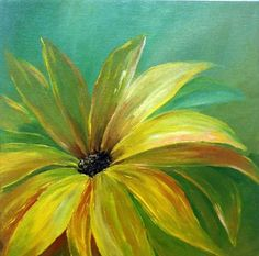Original acrylic painting yellow flower bloom by artbygeorgia, Acrylic Painting Flowers, Simple Acrylic Paintings, Paintings I Love, Acrylic Art, Original Paintings, Flower Paintings, Yellow Painting, Art Floral, All Nature