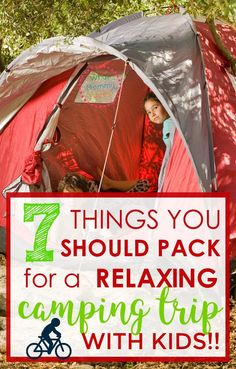 """Before you even THINK of going camping with your kids, make sure you have these 7 things with you. This is the """"nuts and bolts"""" family camping trip checklist. Take these things & you'll be more (Camping Hacks With Kids) Camping Snacks, Camping Diy, Camping Guide, Beach Camping, Camping Activities, Outdoor Camping, Camping Stuff, Camping Storage, Camping Cabins"""